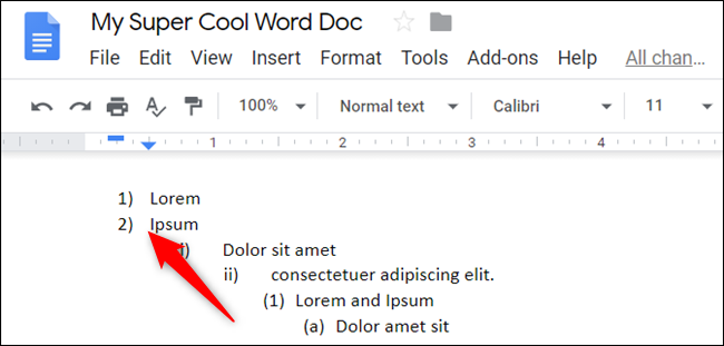Place the cursor at the beginning of a line, and then press Shift+Tab to promote that list item.