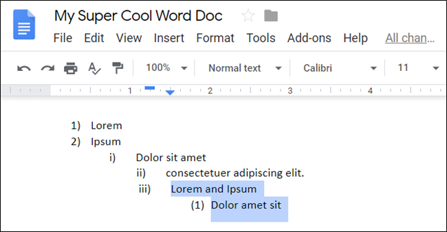 List items highlighted in a Google Doc.