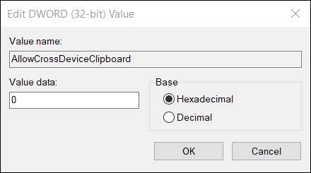 """Ensure the value data for it is """"0"""" before you click """"Okay."""""""