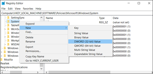 Create a new DWORD (32-bit) value in the System key.