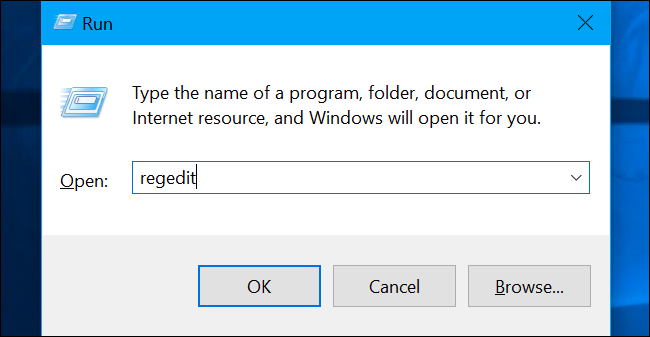 """Press Windows+R to open """"Run"""" and type """"regedit"""" in and hit the Enter key."""